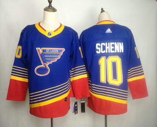 Men's St. Louis Blues #10 Brayden Schenn Blue Adidas Stitched NHL Throwback Jersey