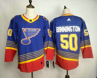Men's St. Louis Blues #50 Jordan Binnington Blue Adidas Stitched NHL Throwback Jersey