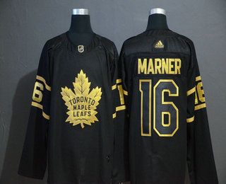 Men's Toronto Maple Leafs #16 Mitchell Marner Black Golden Adidas Stitched NHL Jersey