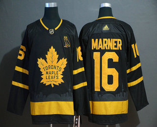 Men's Toronto Maple Leafs #16 Mitchell Marner Black Golden City Edition Adidas Stitched NHL Jersey