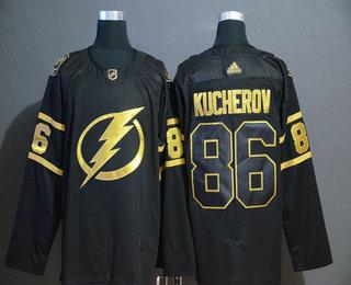 Men's Tampa Bay Lightning #86 Nikita Kucherov Black Golden Adidas Stitched NHL Jersey