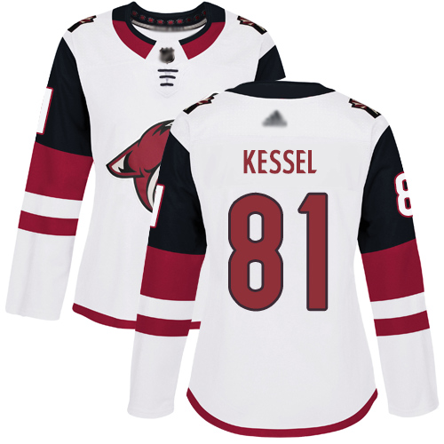 Arizona Coyotes #81 Phil Kessel White Road Authentic Women's Stitched Hockey Jersey