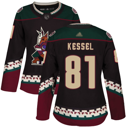 Arizona Coyotes #81 Phil Kessel Black Alternate Authentic Women's Stitched Hockey Jersey