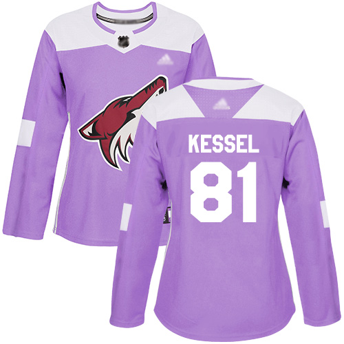 Arizona Coyotes #81 Phil Kessel Purple Authentic Fights Cancer Women's Stitched Hockey Jersey