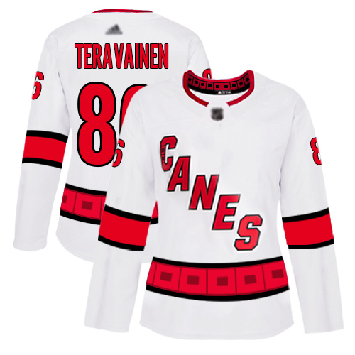 Carolina Hurricanes #86 Teuvo Teravainen White Road Authentic Women's Stitched Hockey Jersey