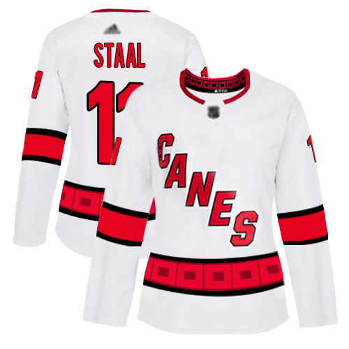 Carolina Hurricanes #11 Jordan Staal White Road Authentic Women's Stitched Hockey Jersey