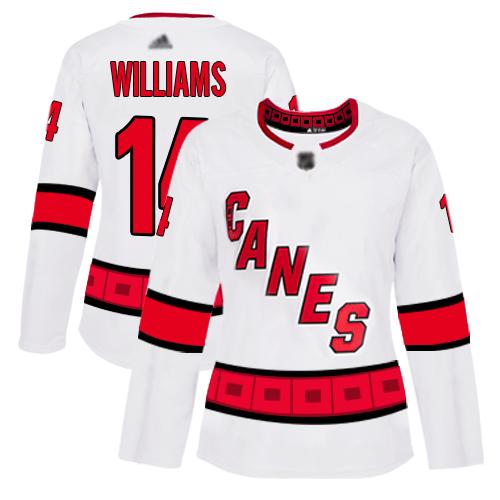 Carolina Hurricanes #14 Justin Williams White Road Authentic Women's Stitched Hockey Jersey