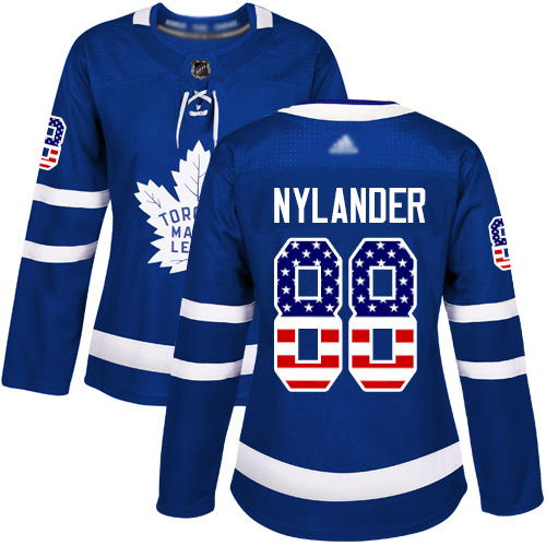 Toronto Maple Leafs #88 William Nylander Blue Home Authentic USA Flag Women's Stitched Hockey Jersey