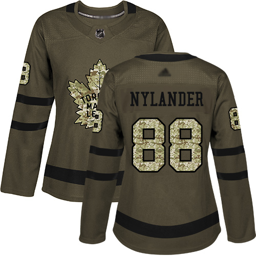 Toronto Maple Leafs #88 William Nylander Green Salute to Service Women's Stitched Hockey Jersey