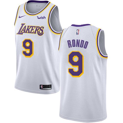 Lakers #9 Rajon Rondo White Youth Basketball Swingman Association Edition Jersey