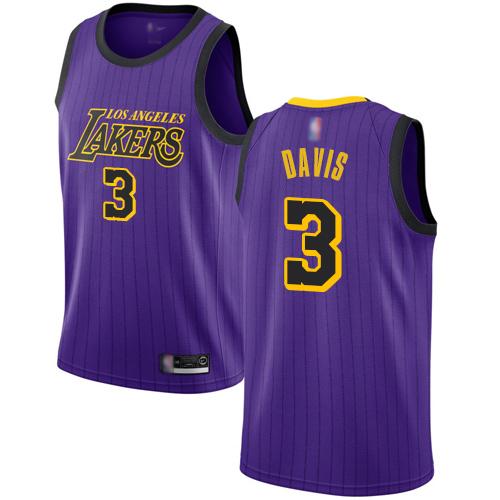 Lakers #3 Anthony Davis Purple Youth Basketball Swingman City Edition 2018-19 Jersey