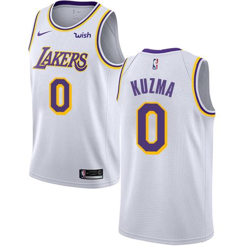 Lakers #0 Kyle Kuzma White Youth Basketball Swingman Association Edition Jersey