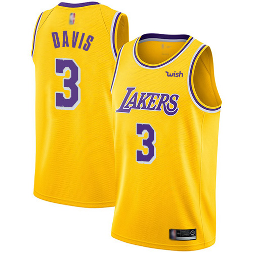 Lakers #3 Anthony Davis Gold Youth Basketball Swingman Icon Edition Jersey
