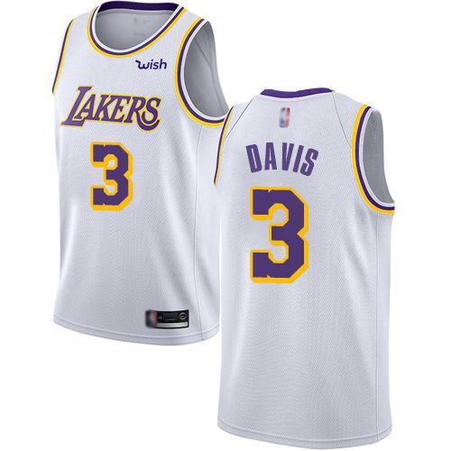 Lakers #3 Anthony Davis White Youth Basketball Swingman Association Edition Jersey