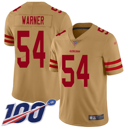 Men's San Francisco 49ers #54 Fred Warner Limited Gold Inverted Legend 100th Season Football Jersey