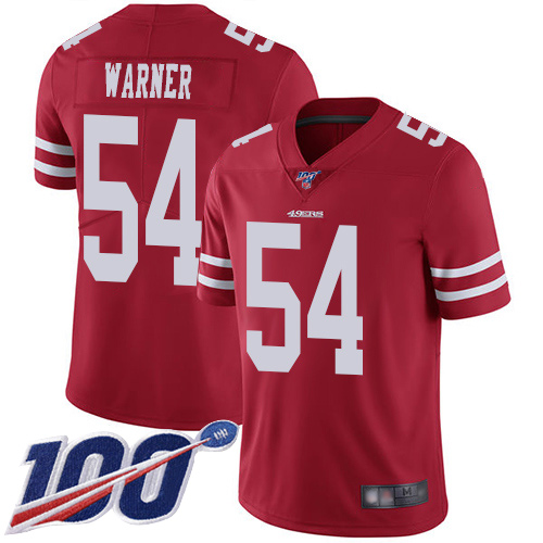 Youth San Francisco 49ers #54 Fred Warner Red Team Color Vapor Untouchable Limited Player 100th Season Football Jersey