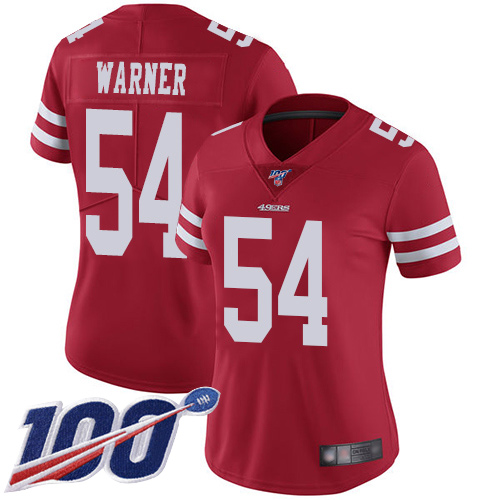 Women's San Francisco 49ers #54 Fred Warner Red Team Color Vapor Untouchable Limited Player 100th Season Football Jersey