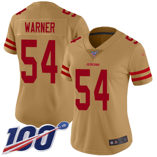 Women's San Francisco 49ers #54 Fred Warner Limited Gold Inverted Legend 100th Season Football Jersey