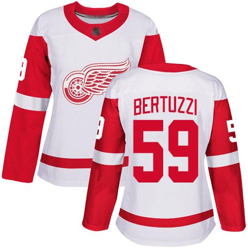 Women's Detroit Red Wings Authentic #59 Tyler Bertuzzi White Away Jersey