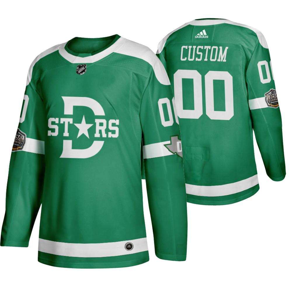 Adidas Dallas Stars Custom Men's Green 2020 Winter Classic Retro NHL Jersey