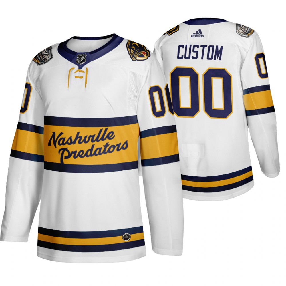 Adidas Nashville Predators Custom Men's White 2020 Winter Classic Retro Authentic NHL Jersey