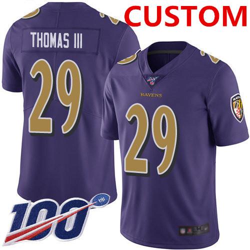Nike Custom Ravens Purple Men's Stitched NFL Limited Rush 100th Season Jersey