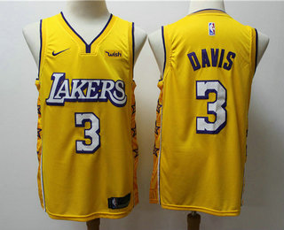 Men's Los Angeles Lakers #3 Anthony Davis Yellow 2020 Nike City Edition Swingman Jersey With The Sponsor Logo