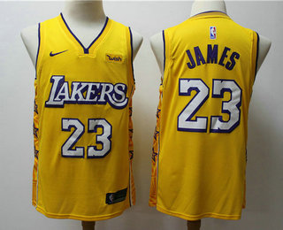Men's Los Angeles Lakers #23 LeBron James Yellow 2020 Nike City Edition Swingman Jersey With The Sponsor Logo