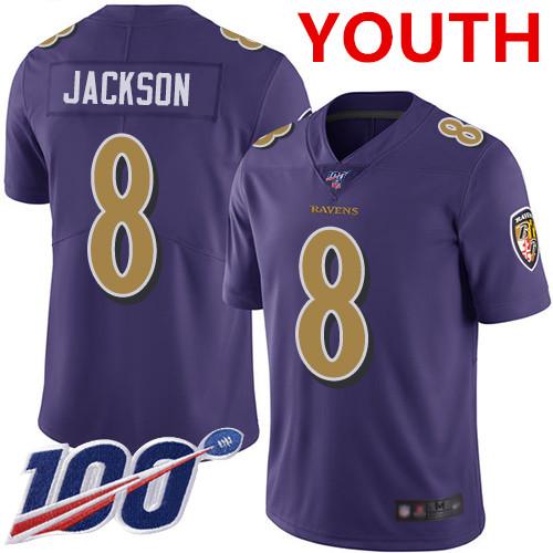 Nike Ravens #8 Lamar Jackson Purple Youth Stitched NFL Limited Rush 100th Season Jersey