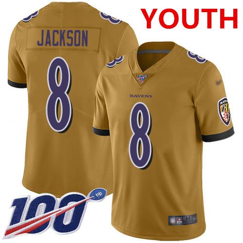 Nike Ravens #8 Lamar Jackson Gold Youth Stitched NFL Limited Inverted Legend 100th Season Jersey