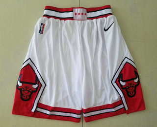 Men's Chicago Bulls White 2019 Nike Swingman Stitched NBA Shorts
