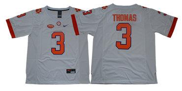 Men's Clemson Tigers #3 Xavier Thomas White Stitched NCAA Nike 2019 New College Football Jersey