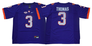 Men's Clemson Tigers #3 Xavier ThomasPurple Stitched NCAA Nike 2019 New College Football Jersey