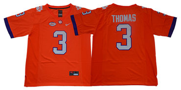 Men's Clemson Tigers #3 Xavier Thomas Orange Stitched NCAA Nike 2019 New College Football Jersey