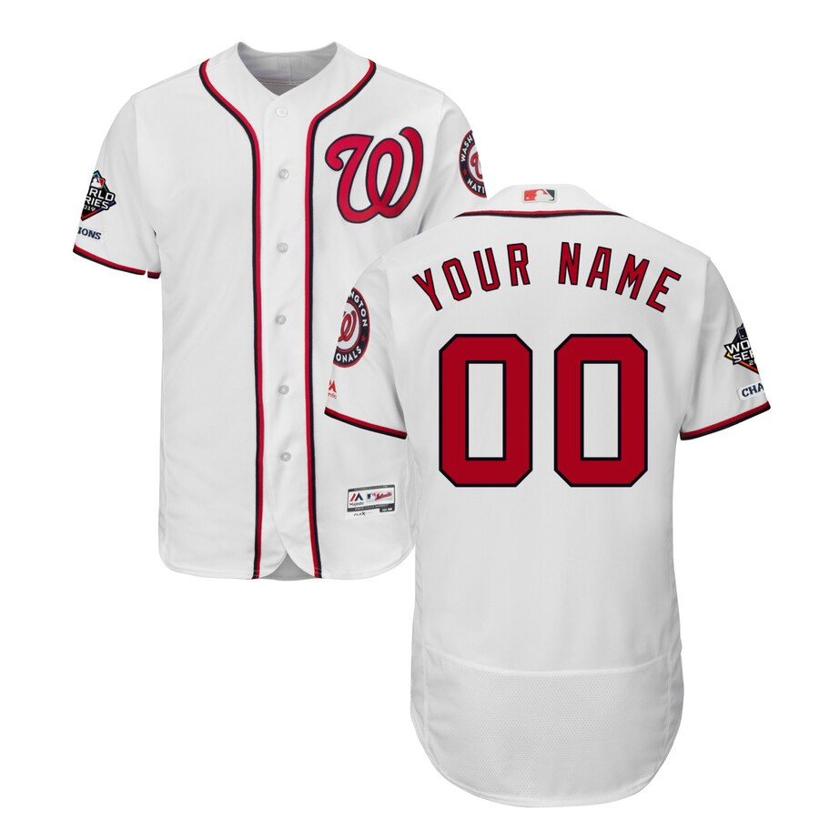 Washington Nationals Majestic 2019 World Series Champions Home Authentic Flex Base Custom White Jersey