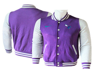 Men's Charlotte Hornets Purple Stitched NBA Jacket