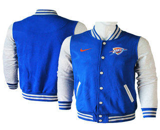 Men's Oklahoma City Thunder Blue Stitched NBA Jacket