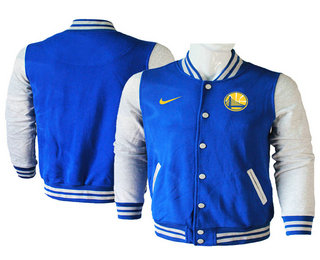 Men's Golden State Warriors Blue Stitched NBA Jacket