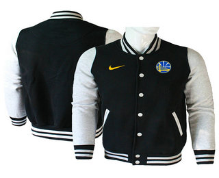 Men's Golden State Warriors Black Stitched NBA Jacket