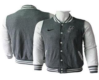 Men's San Antonio Spurs Gray Stitched NBA Jacket