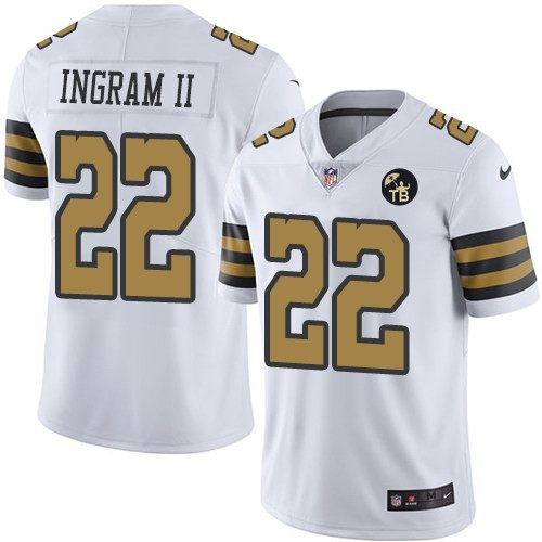 Nike New Orleans Saints #22 Mark Ingram II White With Tom Benson Patch Color Rush Limited Jersey