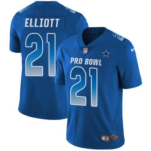 Nike Dallas Cowboys #21 Ezekiel Elliott Royal Men's Stitched NFL Limited NFC 2019 Pro Bowl Jersey