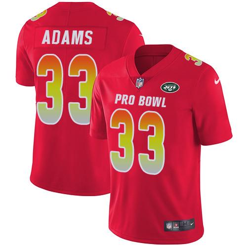Nike New York Jets #33 Jamal Adams Red Men's Stitched NFL Limited AFC 2019 Pro Bowl Jersey