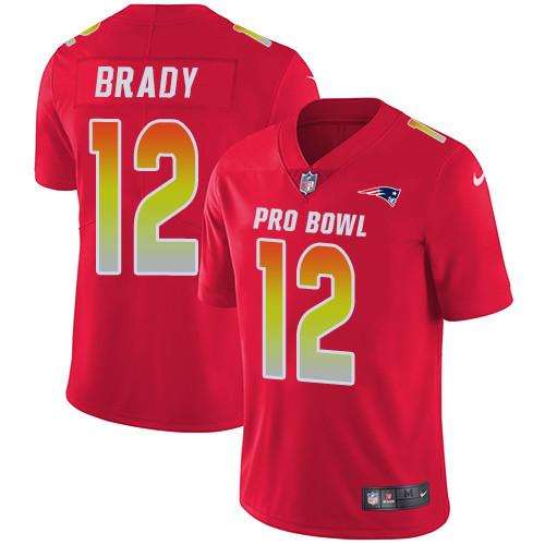 Nike New England Patriots #12 Tom Brady Red Men's Stitched NFL Limited AFC 2019 Pro Bowl Jersey