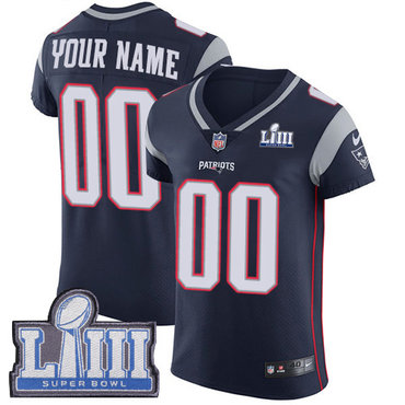 Men's Customized New England Patriots Vapor Untouchable Super Bowl LIII Bound Elite Navy Blue Nike NFL Home Jersey
