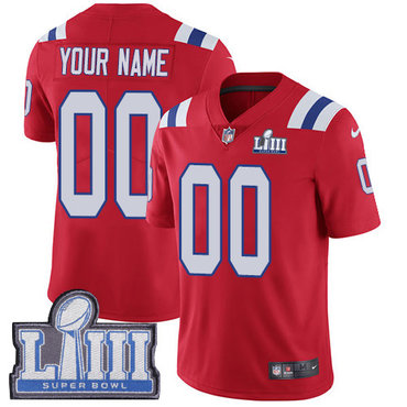 Men's Customized New England Patriots Vapor Untouchable Super Bowl LIII Bound Limited Red Nike NFL Alternate Jersey
