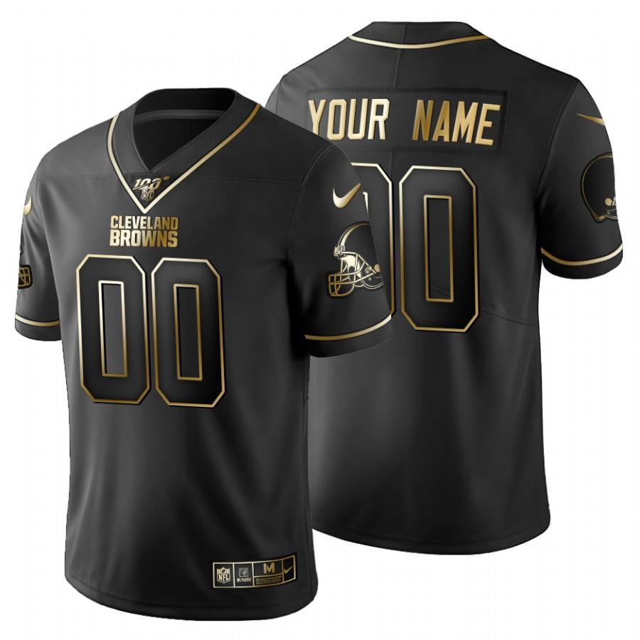 Cleveland Browns Custom Men's Nike Black Golden Limited NFL 100 Jersey