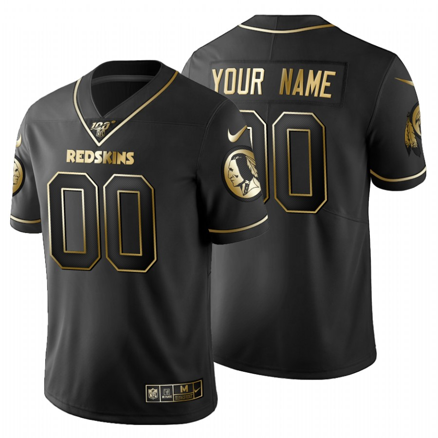Washington Redskins Custom Men's Nike Black Golden Limited NFL 100 Jersey