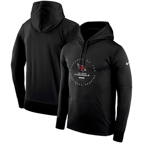 Men's Arizona Cardinals Nike Black Sideline Property Of Wordmark Logo Performance Pullover Hoodie