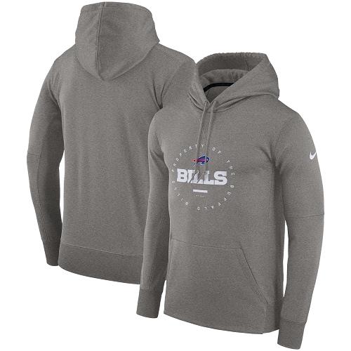 Men's Buffalo Bills Nike Charcoal Sideline Property Of Wordmark Logo Performance Pullover Hoodie